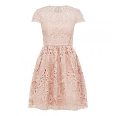 Jessica lace prom dress ($145) ❤ liked on Polyvore featuring dresses, pink dress, pink cocktail dress, lacy dress, pink prom dresses and lace cocktail dresses