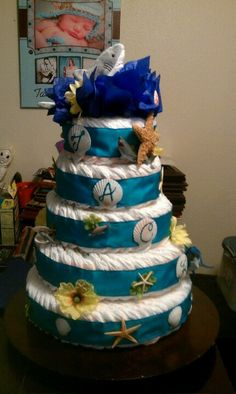 Diaper Car   ... to do my style of cakes, WE created this awesome SHARK diaper cake