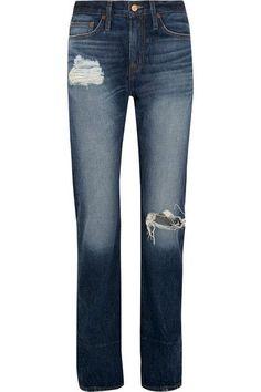 J.Crew - Distressed High-rise Boyfriend Jeans - Indigo -