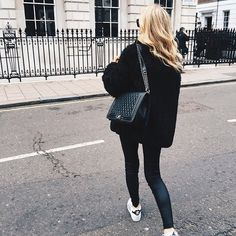 All black outfit, street style, chanel bag | Harper and Harley