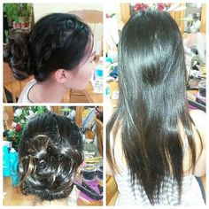 Long straight hair into a messy low bun with a braid. Have fun tonight at prom, @carolmayle ☺ #prettyfultoronto #hairstyle #buns #braids @prettyfultoronto