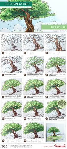 Color Pencil Drawing Tutorial make-it-crafty-tree-step-by-step Colored Pencil Tutorial, Colored Pencil Techniques, Tree Drawings Pencil, Art Drawings, Horse Drawings, Drawing Art, Drawing Trees, Colour Drawing, Colouring Techniques
