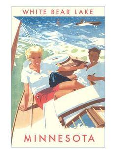 Art Print: Sailing on White Bear Lake, Minnesota Poster : Vintage Poster, Vintage Travel Posters, Vintage Postcards, Vintage Ads, Vintage Prints, Vintage Cameras, Sailboat Art, White Bear Lake, Tourism Poster