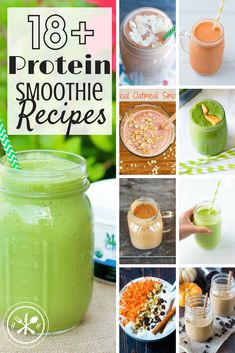 Getting sick of your go-to smoothie?  Here are 18 high protein unique and delicious protein smoothie recipes to keep you inspired and full!  #smoothie #glutenfree #protein #breakfast #breakfastsmoothie #smoothiebowl #hungryhobby
