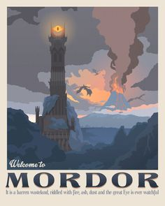Set of 4 The Lord of the Rings poster Tolkien wall art Middle earth The shire illustration Retro travel poster Mordor design Rohan horses Rivendell elves Vintage geek gif. Tolkien, Geek Gifts For Him, O Hobbit, Poster Design, Vintage Travel Posters, Middle Earth, Lotr, Oeuvre D'art, Travel Inspiration