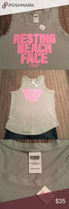 """Limited Edition VS Pink Oversized Tank Limited Edition VS Pink light gray tank with """"Resting Beach Face"""" pink graphic. Oversized top meant to be worn with a bralette or bikini top. This tank is so cute and says it all!! Just wish it fit me better because I'd definitely keep it! New with tags! PINK Victoria's Secret Tops Tank Tops"""