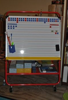 Thanks, Tiffany, for sharing your super-cool homeschool room and how you use your Double-Wide Teaching Easel from Lakeshore!