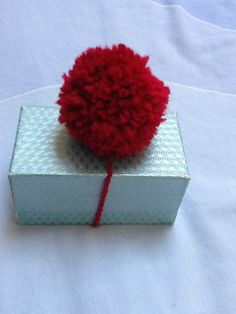 Red Gift Decoration Yarn Gift Decoration by KreationsByKirstenL