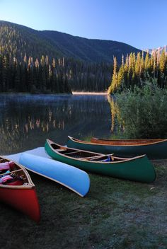 Northwest Chapter of the Wooden Canoe Heritage Association canoes on Lightning Lake in Manning Park. http://www.nwwoodencanoe.org/