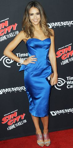 Jessica Alba stunned at the Sin City: A Day To Kill For premiere in a cobalt blue silk duchess strapless Zac Posen cocktail dress, complete with a mirrored Lee Savage clutch, jewelry by Bulgari and Chopard, and metallic silver sandals. #InStyle