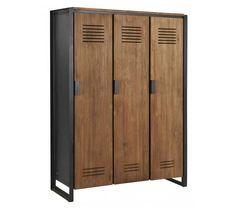 d-Bodhi Fendy Locker Kast - 3 Deurs - x x cm - Teakhout Sideboard Furniture, Diy Furniture Plans, Steel Furniture, Industrial Furniture, Armoire, Locker Designs, Stainless Steel Coffee Table, Plywood Projects, Vintage Lockers