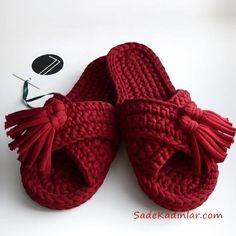 Penye İp Terlik Modelleri Bordo Püskül Aksesuarlı #knitting #knittingpatterns
