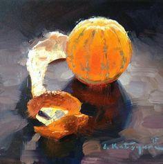 "Daily Paintworks - ""Monday Mandarin"" - Original Fine Art for Sale - © Elena Katsyura Painting Still Life, Still Life Art, Fruit Painting, Orange Painting, Illustration Art, Illustrations, Fine Art Auctions, Fruit Art, Art Plastique"