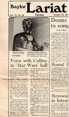 """The Gospel According to Luke Skywalker,"" as written by #Baylor students for Homecoming 1977. (click image for full text)"
