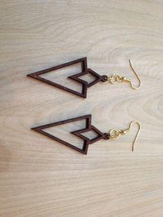 Laser-Cut Wood Earrings - Quest Marker by Lightspire on Etsy