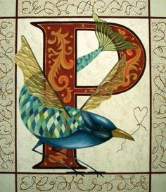 P: Alphabet illustrated by Chum McLeod Fancy Letters, Monogram Letters, Beautiful Calligraphy, Calligraphy Art, Illuminated Letters, Illuminated Manuscript, Mandala, Medieval Manuscript, Letter Art