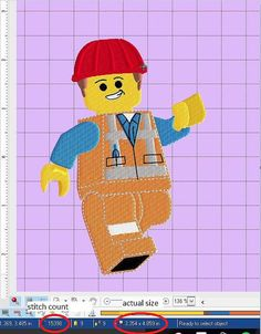 Lego Emmet embroidery 5in tall by SweetasLemonandHoney on Etsy