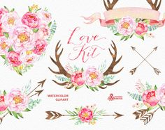 Love Kit. Watercolor flowers Clipart, peonies, arrows, antlers, heart, bouquets, valentines, wedding, floral, card, diy clip art, spring by OctopusArtis on Etsy https://www.etsy.com/listing/262439680/love-kit-watercolor-flowers-clipart