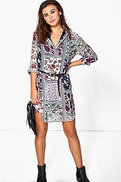 Kitana Paisley Patchwork Shirt Dress
