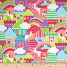 Michael Miller Princess Charming Unicorn Town Brite from @fabricdotcom  Designed for Michael Miller, this cotton print fabric is perfect for quilting, apparel and home decor accents. Colors include shades of pink, purple, orange, green, blue, and white.