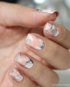 Latest 45 Easy Nail Art Designs for Short Nails 2016 simple nails design Chic Nail Designs, Gel Nail Art Designs, Simple Nail Art Designs, Easy Nail Art, Nails Design, Sharpie Designs, Marble Nail Designs, Blog Designs, Sharpie Nail Art