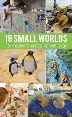 18 Small Worlds for Inspiring Creative, Imaginative Play from proves you don't have to have a huge area for Dramatic Play Play Based Learning, Learning Through Play, Learning Activities, Toddler Activities, Kids Learning, Indoor Activities, Summer Activities, Family Activities, Sensory Bins