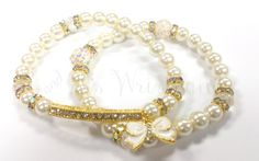 $12 White Bow Beaded Bracelets Bracelet Gold by RandRsWristCandy
