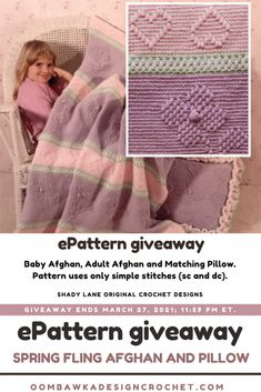 Spring Fling Afghan and Pillow Pattern Set This 7-page ePattern includes instructions for a pillow and both an adult and a baby-size afghan. Read my review and enter for a chance to win your own copy of this ePattern. Giveaway is open worldwide where allowed by Law (void in Quebec). Giveaway ends March 27, 2021 at 11:59 pm ET. This giveaway is in no way affiliated with Facebook or Instagram. Baby Patterns, Stitch Patterns, Knitting Patterns, Easy Crochet Stitches, Crochet Yarn, Slip Stitch Knitting, Native American Design, Dk Weight Yarn, Baby Afghans