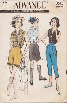 Advance 8612 / Vintage 1950s Sewing Pattern / Blouse Shorts Cropped Pants Pedal Pushers / Size 13 Bust 33