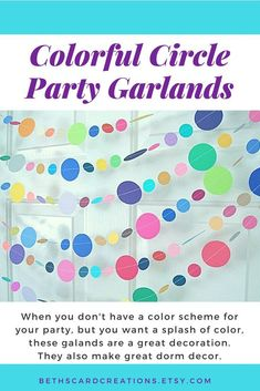 e0b1dec7c57 Colorful circle party garland. Etsy. Office Birthday Decorations ...