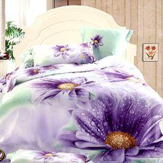 Completo lenzuola matrimoniale maxi con copripiumino satin di cotone 100% *Purple Gerbera*