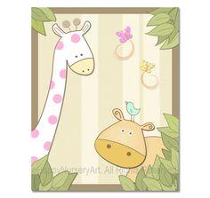 Girls nursery giraffe hippo birds baby room