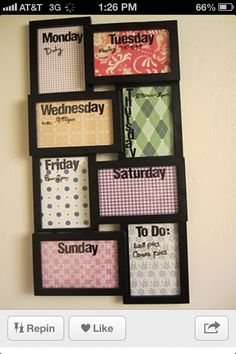 picture frame weekly calender