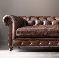 RH's Kensington Leather Sofa:A masterful reproduction by Timothy Oulton of the classic Chesterfield style, our sofa evokes the grand gentlemen's club tradition. Rustic Leather Sofa, Vintage Leather Sofa, Vintage Sofa, Small Furniture, Solid Wood Furniture, Fancy Houses, Chesterfield Sofa, Living Room Sofa, Sofa Design