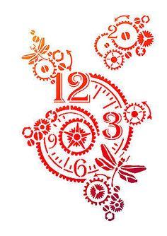 Stencil Universal Schablone Uhr mit Zahnrädern Uhrwerk mechanisch