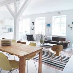 Open plan living in a converted Copenhagen office building