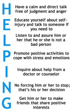 Helping someone with self harm issues.