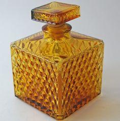 Vintage Glass Bottle Amber Waffle Cut