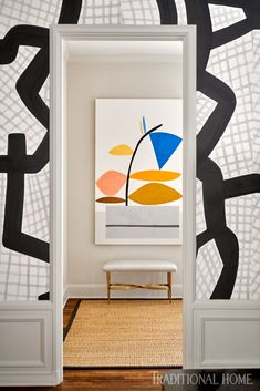 Jean Liu lets her heart guide the design of her family's historic Dallas home Graphic Wallpaper, Modern Wallpaper, Large Painting, Painting On Wood, Jonas Wood, Wallpaper Ceiling, Woven Shades, Restoration Hardware Dining Chairs, Metal Bar Stools