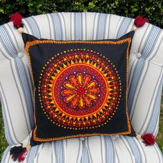 Red and Black Circle Floral Embroidered Indian Cushion Throw Pillow Cotton 16X16 pillow Red Black Yellow