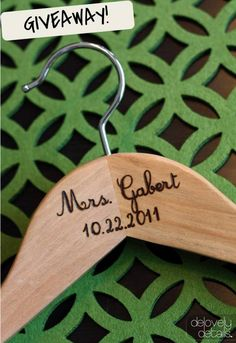 GIVEAWAY! We're giving away 1 FREE Personalized Hanger! Click here to enter ☛ http://ow.ly/6GdHc