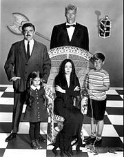 The main cast: Gomez (John Astin), Lurch (Ted Cassidy), Wednesday (Lisa Loring), Morticia (Carolyn Jones), and Pugsley (Ken Weatherwax).