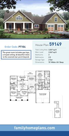 Craftsman House Plan 59149   Total Living Area: 2,067 SQ FT, 3 bedrooms and 2.5 bathrooms. The great room includes gas logs, a trayed ceiling, and beautiful views to the covered rear porch beyond. #craftsmanhome