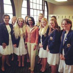Condoleezza Rice with Team Gb&I Curtis Cup squad