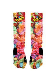 Custom Fruity Pebbles Socks Custom Nike Elite by NikkisNameGifts, $20.00