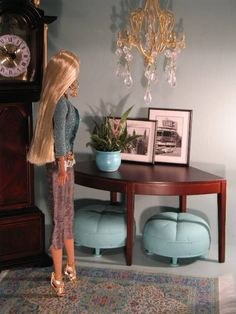 Barbie Doll & Fashion Royalty Wooden Curved Table by cococallie