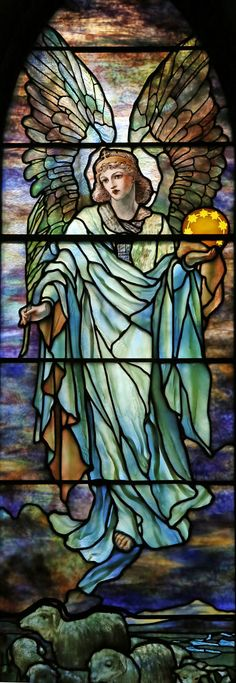 Tiffany, Jacob and Two Angels Stained Glass Window,at St. Stained Glass Church, Stained Glass Angel, Tiffany Stained Glass, Tiffany Glass, Stained Glass Windows, Leaded Glass, Mosaic Glass, Church Windows, Angels Among Us