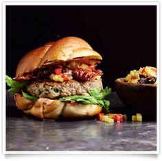 Pork Burger with Pineapple Chutney and Bacon