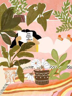 Never Enough Plants A4 and A3 Art Print Plant Lady