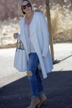 Spring Cardigan Ideas (Dawned On Me) Grey Coats For Women, Winter Jackets Women, Winter Outfits Women, Cardigans For Women, Boho Womens Clothing, Bohemian Style Clothing, Long White Cardigan, Dress With Cardigan, Fleece Cardigan